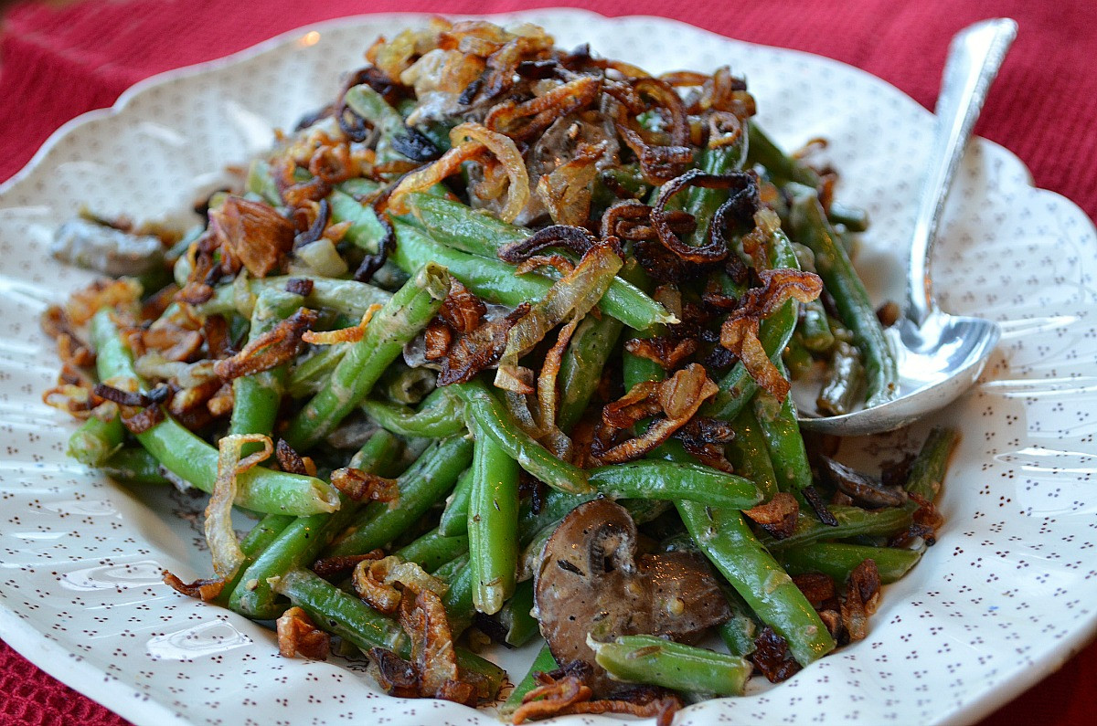 "Green Bean Casserole With Canned Green Beans  Quick and Fresh Green Bean ""Casserole"" Three Many Cooks"