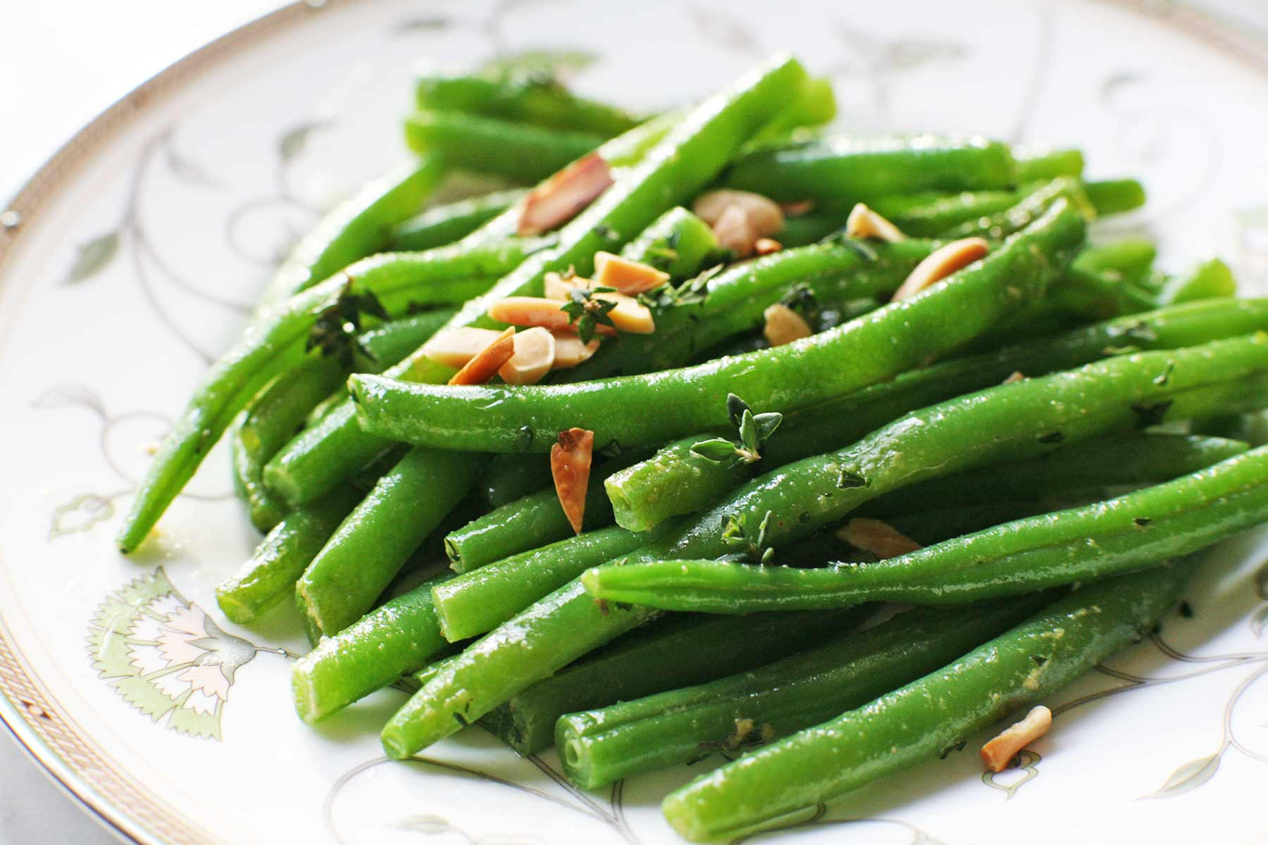 Green Bean Recipes  Green Beans with Almonds and Thyme Recipe