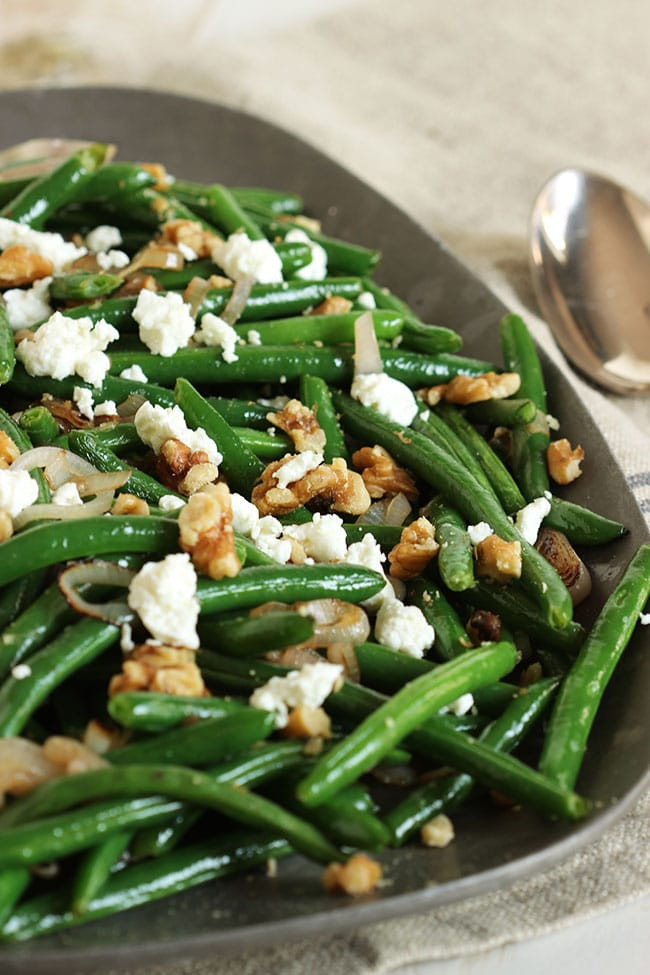 Green Bean Side Dish  Green Beans with Goat Cheese Shallots and Walnuts The