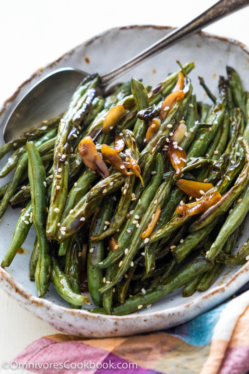 Green Bean Side Dish  Oven Roasted Green Beans with Garlic Soy Glaze