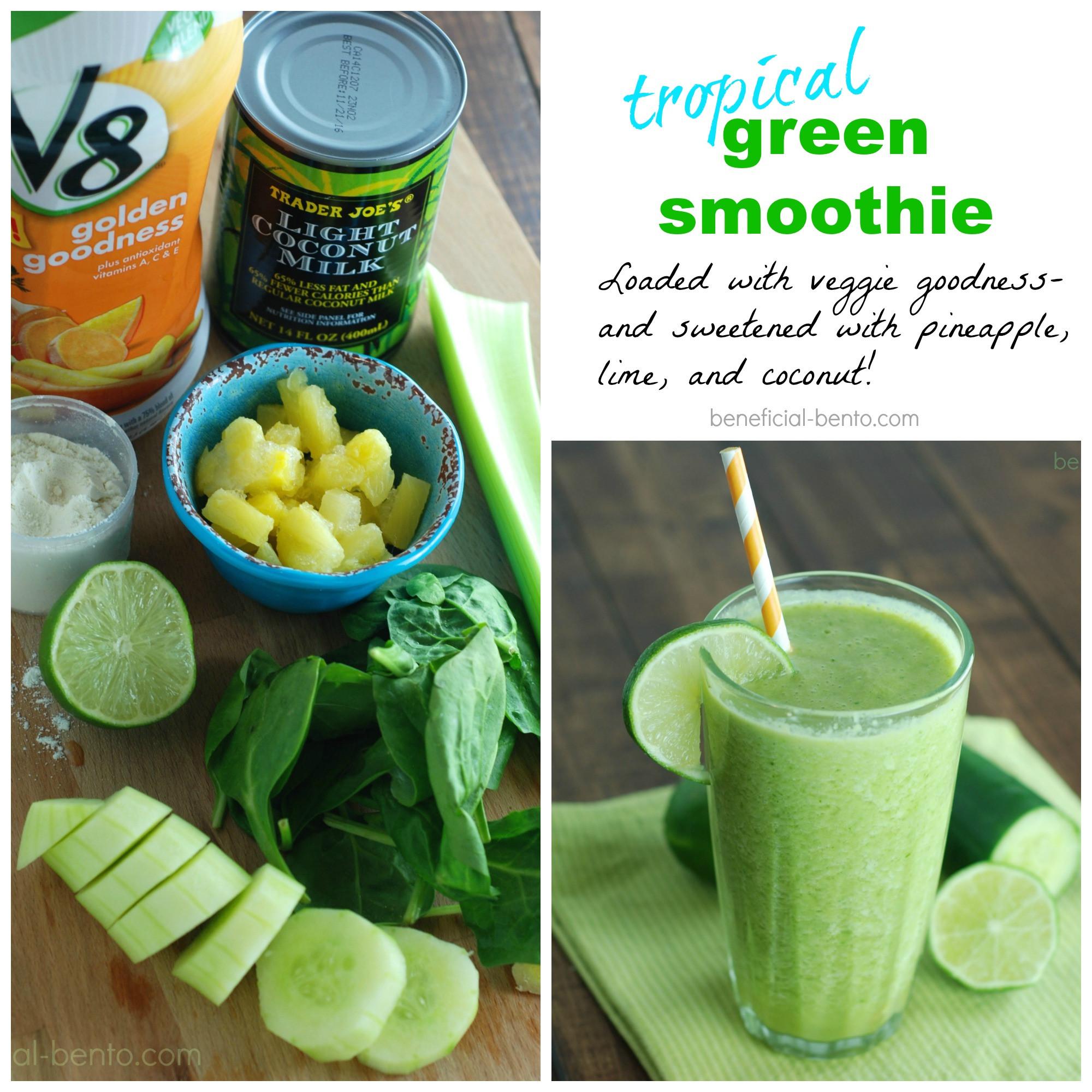Green Smoothies Recipes  Tropical Green Smoothie Recipe Beneficial Bento