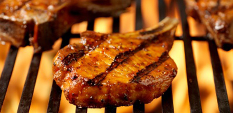 Grill Pork Chops Time  Grilled Pork Chops with Mushrooms Sautéed in Bourbon A