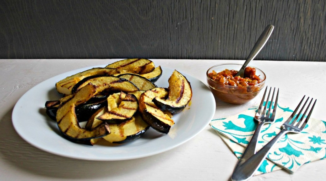 Grilled Acorn Squash  Grilled Acorn Squash with Tomato Curry Chutney Chews and