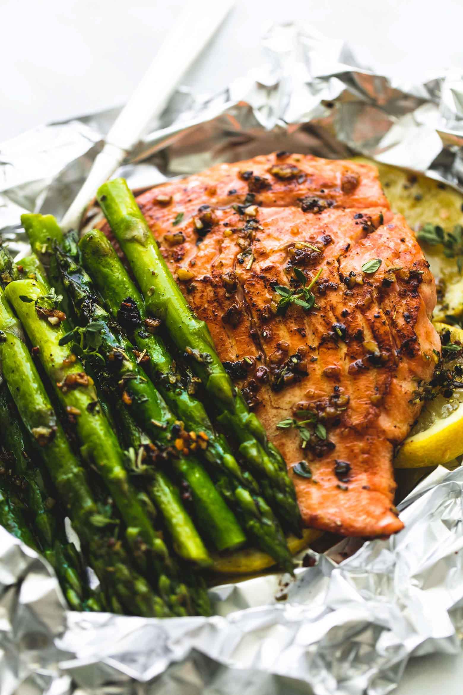 Grilled Asparagus Foil  Herb Butter Salmon and Asparagus Foil Packs