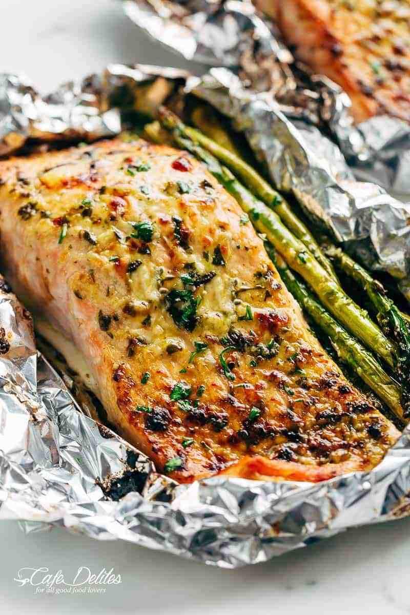 Grilled Asparagus Foil  Lemon Parmesan Salmon & Asparagus Foil Packs Cafe Delites