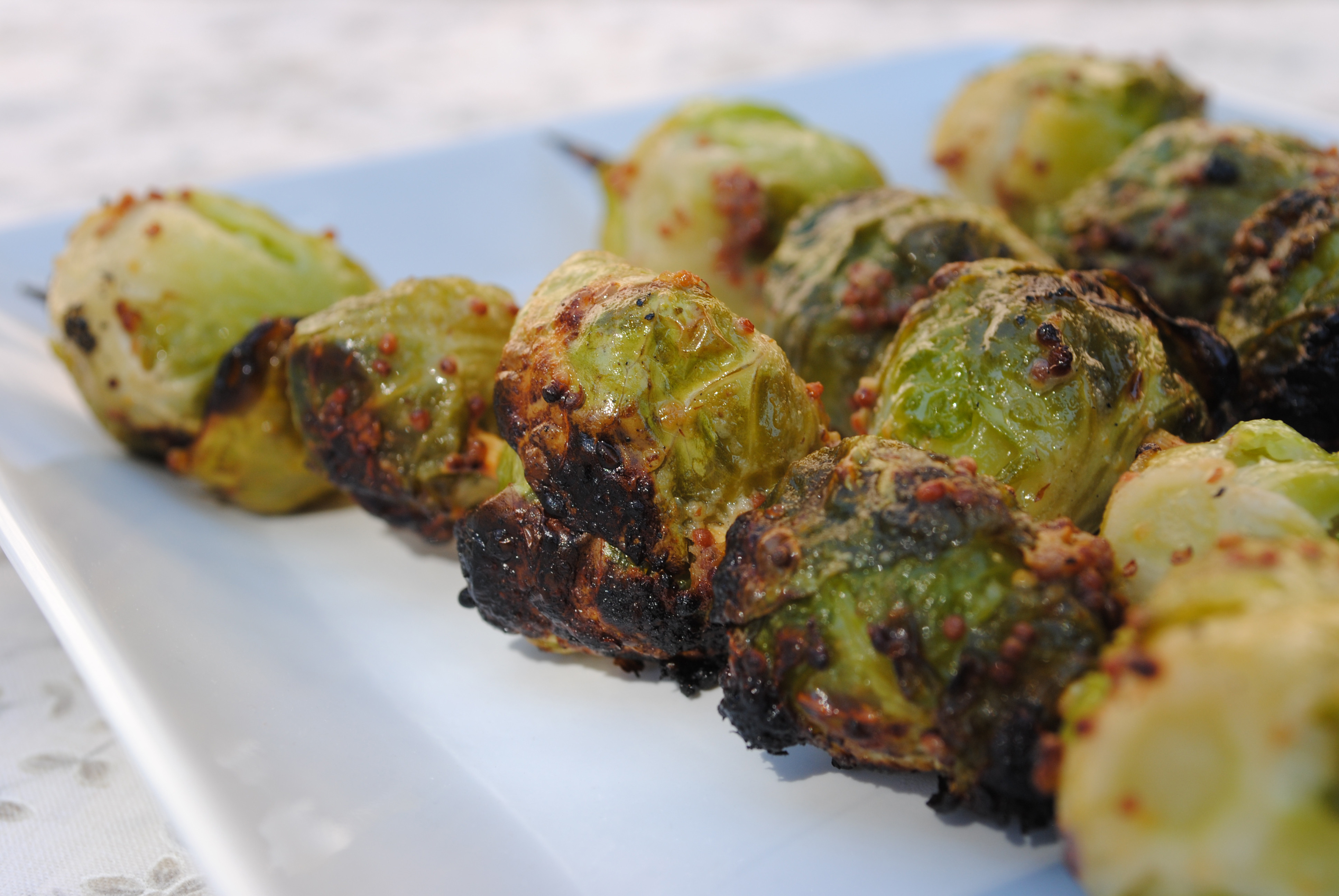Grilled Brussels Sprouts  Grilled Brussels Sprouts with Whole Grain Mustard