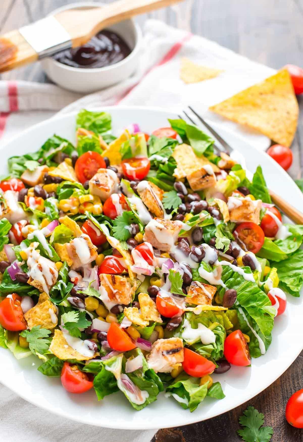 Grilled Chicken Salad Recipes  BBQ Chicken Salad with Creamy Ranch