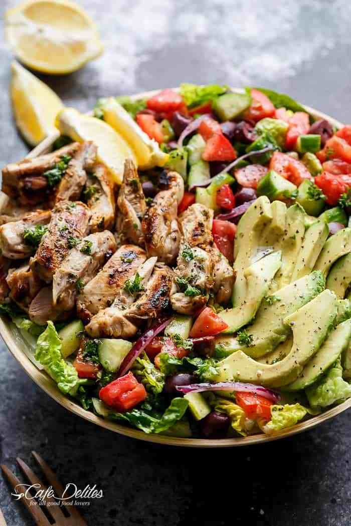 Grilled Chicken Salad Recipes  Grilled Lemon Herb Mediterranean Chicken Salad Cafe Delites