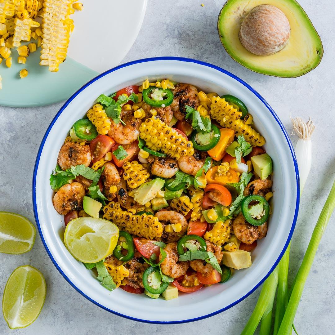 Grilled Corn Salad  Perfect for Summer Honey Lime Shrimp Grilled Corn Salad