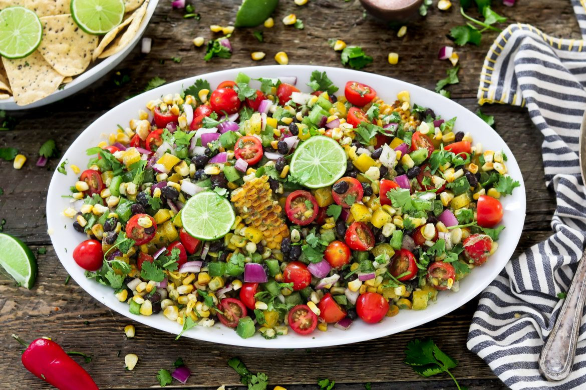 Grilled Corn Salad  Summer Grilled Corn Salad w Cilantro Lime Dressing