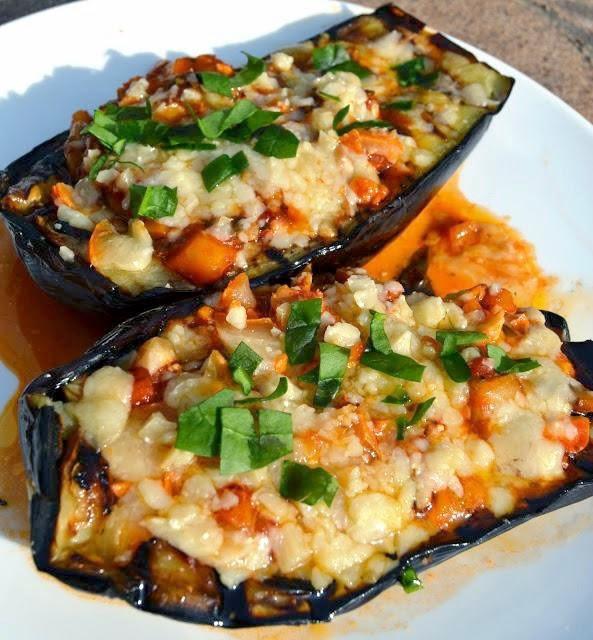 Grilled Eggplant Parmesan  The Nutritionist Reviews Grilled Eggplant Parmesan Boats
