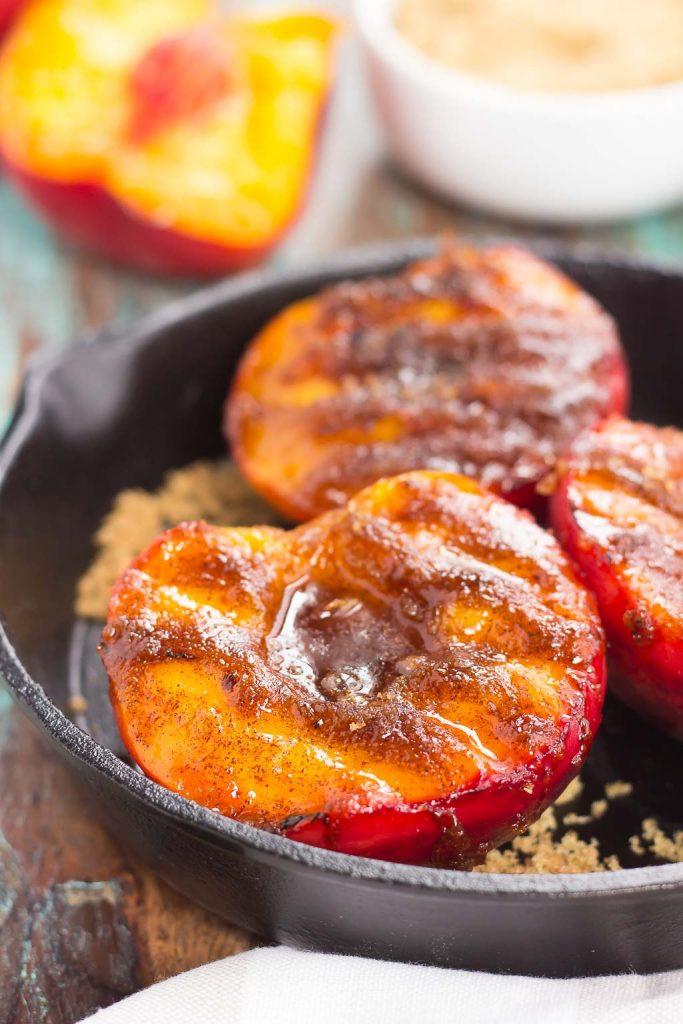 Grilled Peaches Dessert  Grilled Peaches with Cinnamon and Brown Sugar Pumpkin N