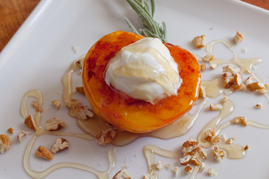 Grilled Peaches Dessert  Grilled Peaches with Yogurt and Honey