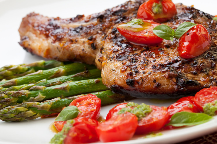 Grilled Pork Chops  Grilled Pork Chops with Asparagus and Pesto