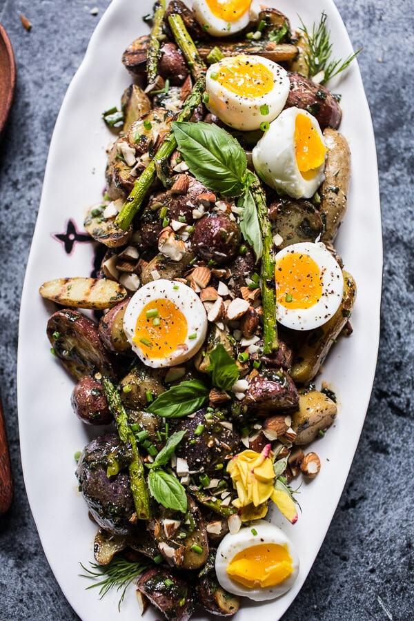 Grilled Potato Salad  Grilled Potato Salad with Almond Basil Chimichurri