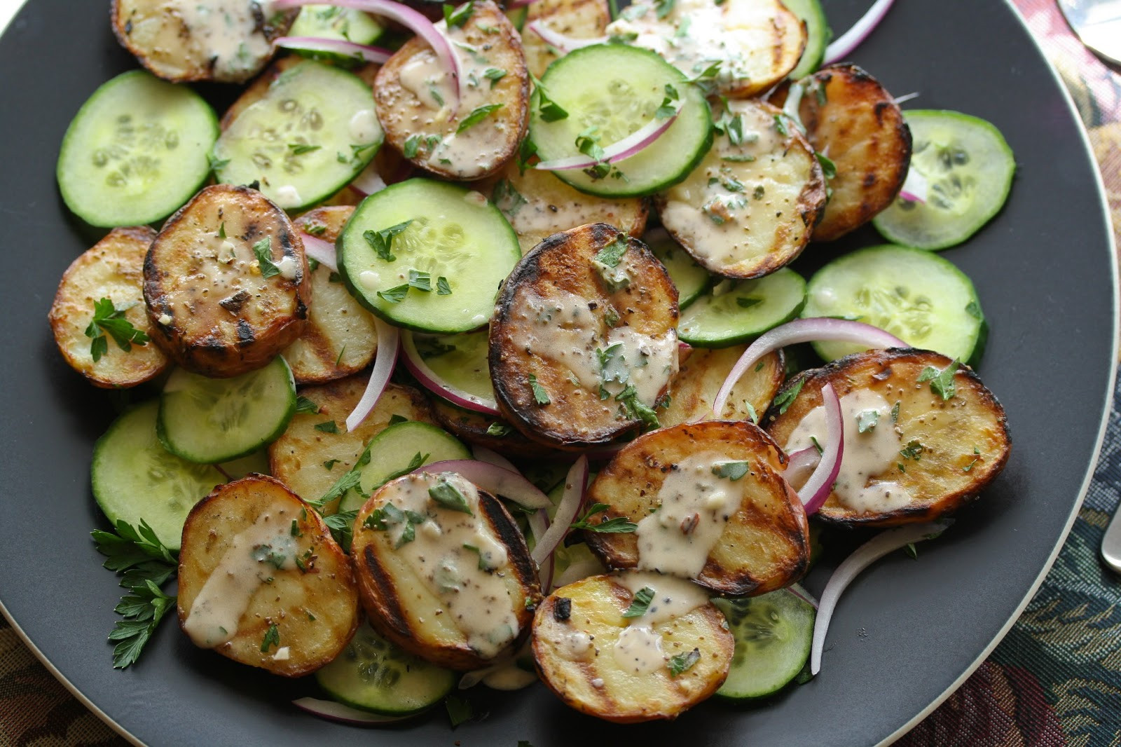 Grilled Potato Salad  Grilled Potato Salad with Cucumbers and Fresh Herbs from