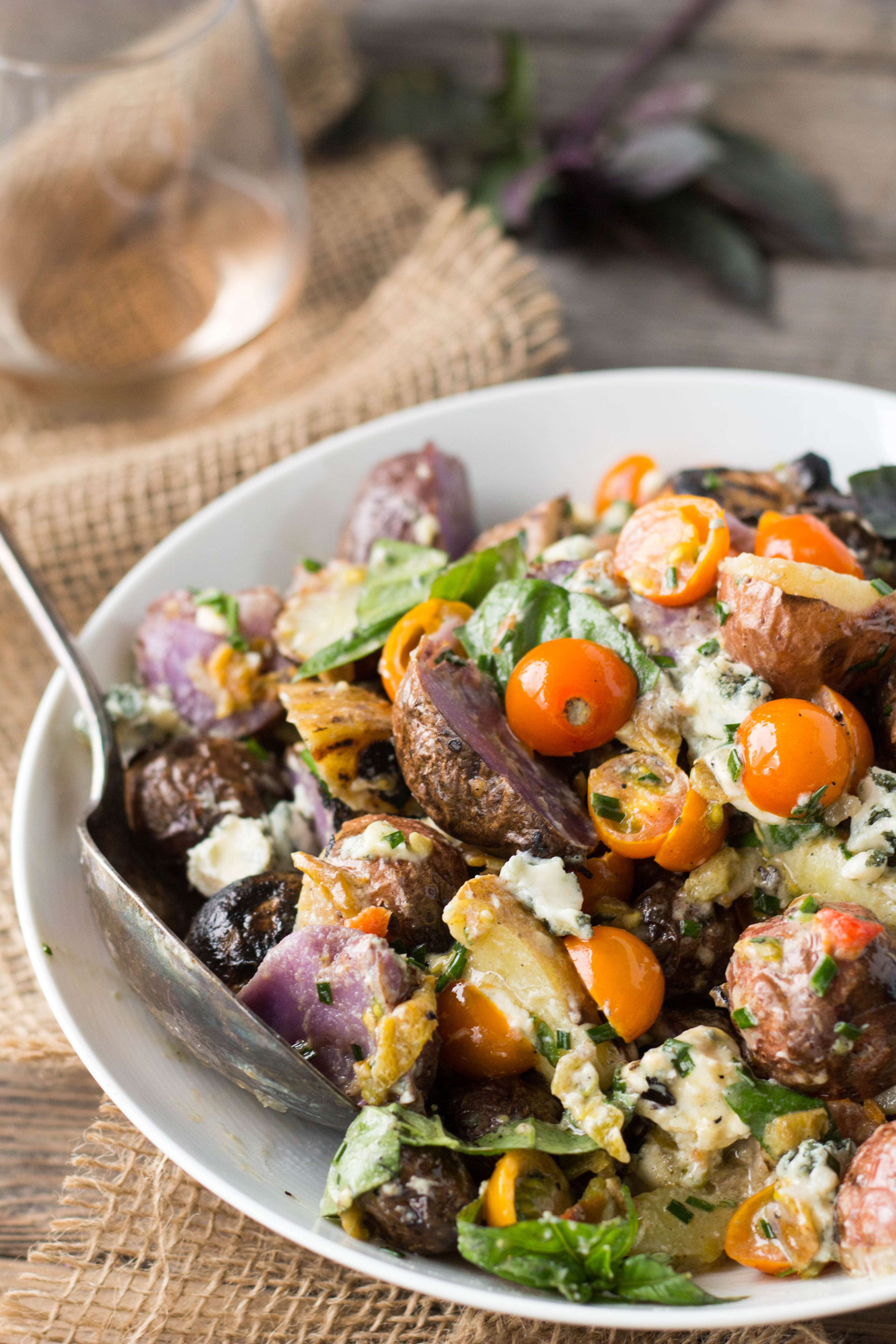 Grilled Potato Salad  Grilled Potato Salad with Basil Blue Cheese Tomatoes