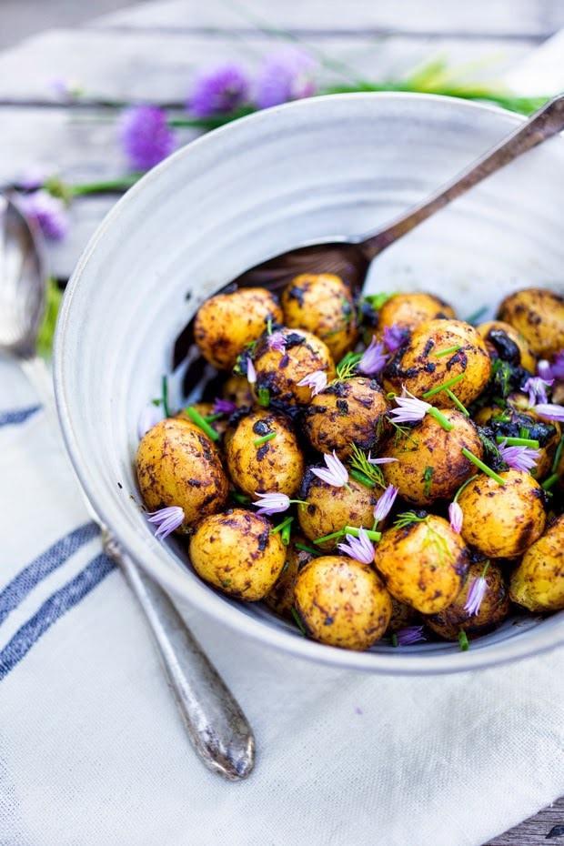Grilled Potato Salad  Grilled Potato Salad with Black Garlic and Chives