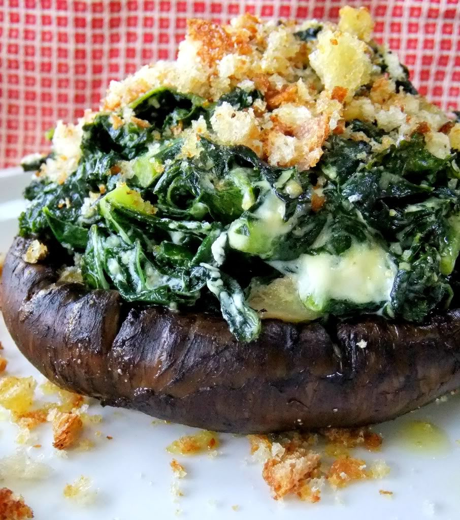 Grilled Stuffed Portobello Mushrooms  Grilled Portobellos with Kale and Goat Cheese