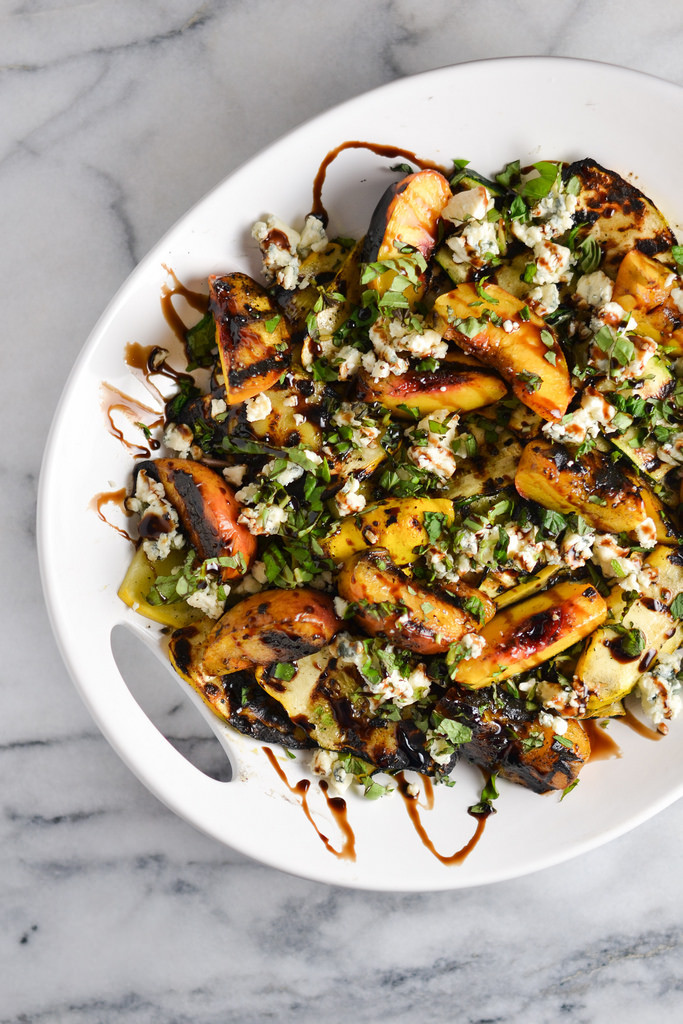 Grilled Summer Squash  Grilled Summer Squash and Peaches with Blue Cheese and
