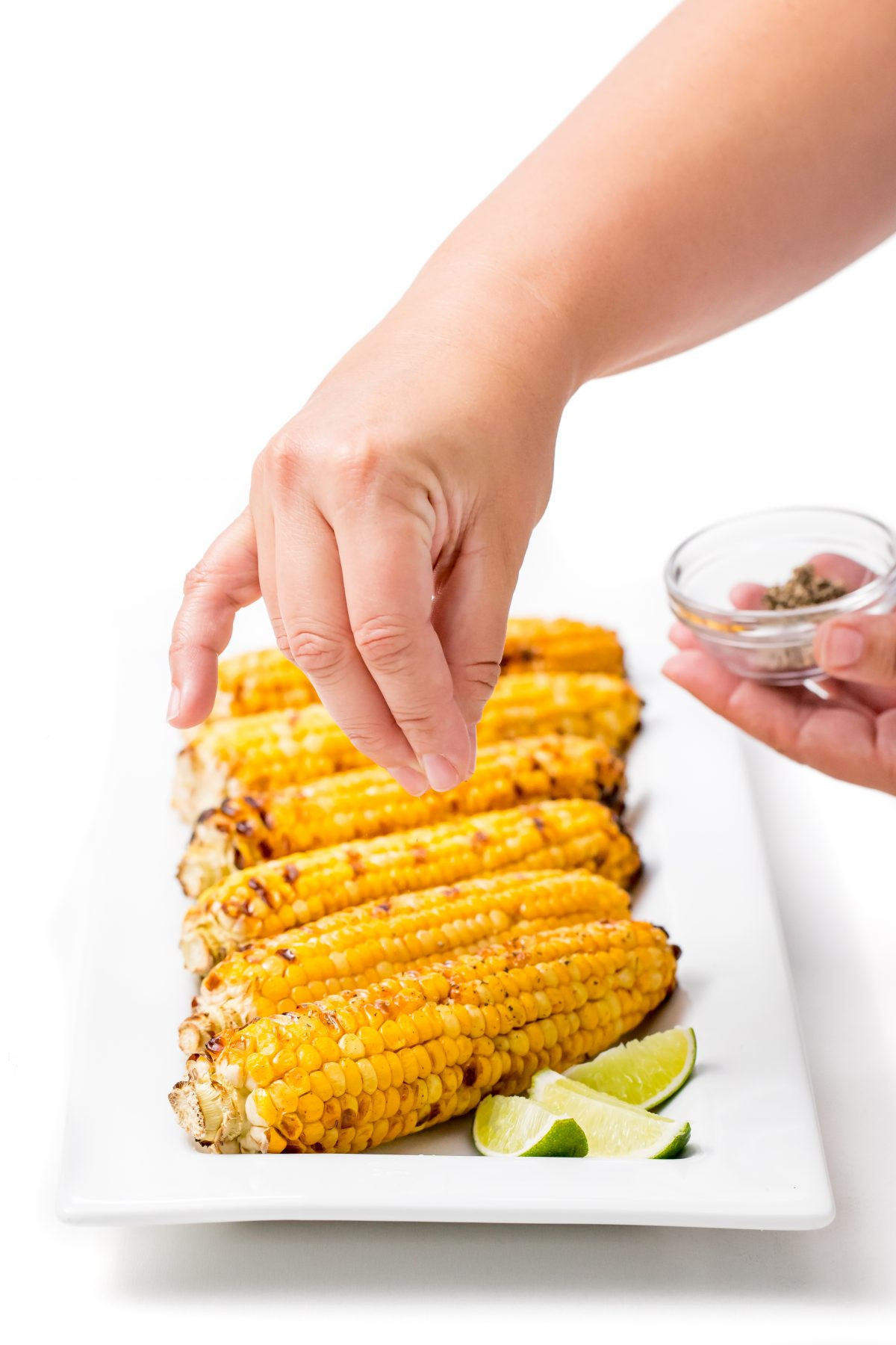 Grilled Sweet Corn  Grilled sweet corn with chili lime honey butter