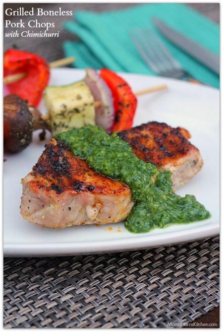 Grilling Boneless Pork Chops  Grilled Boneless Pork Chops with Chimichurri