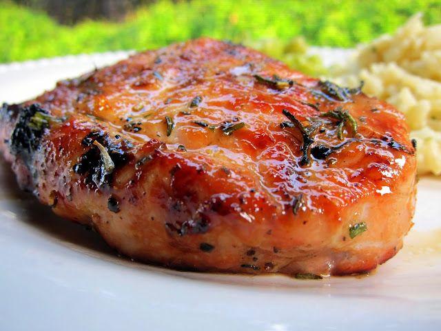 Grilling Boneless Pork Chops  Honey Rosemary Grilled Pork Chops pork brushed with