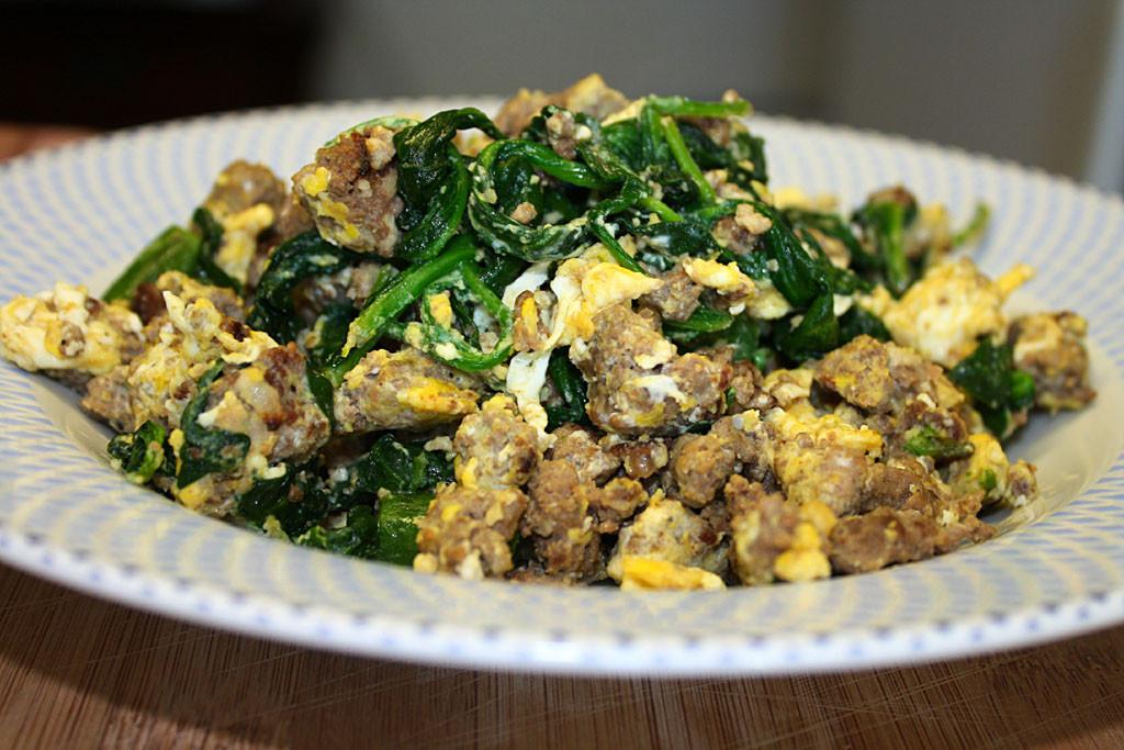 Ground Beef And Eggs  Food Vangelist Spinach Ground Beef Breakfast Scramble