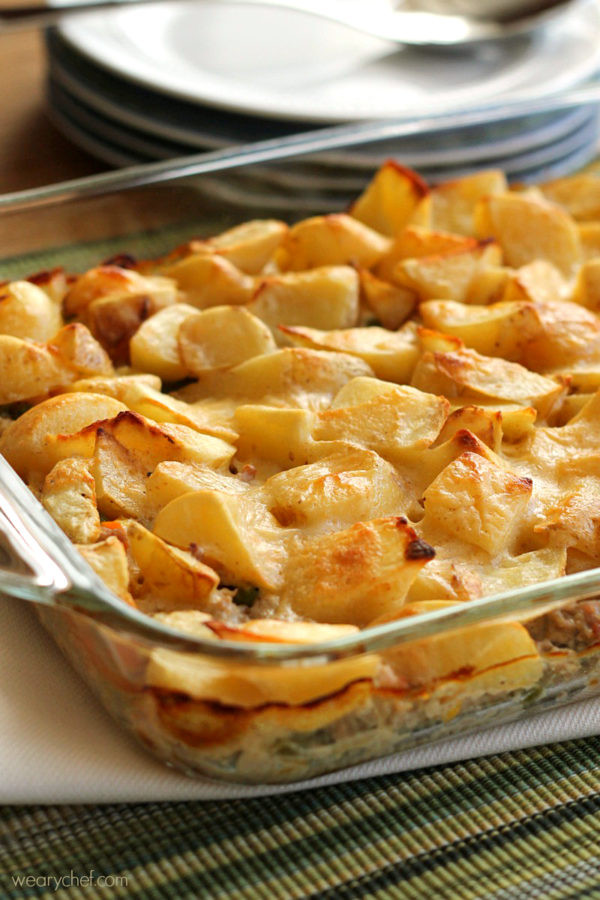 Ground Beef Casserole With Potatoes  Good for You Meat and Potatoes Casserole The Weary Chef
