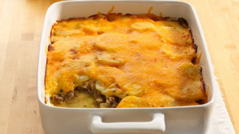 Ground Beef Casserole With Potatoes  Potato and Ground Beef Gratin Recipe BettyCrocker