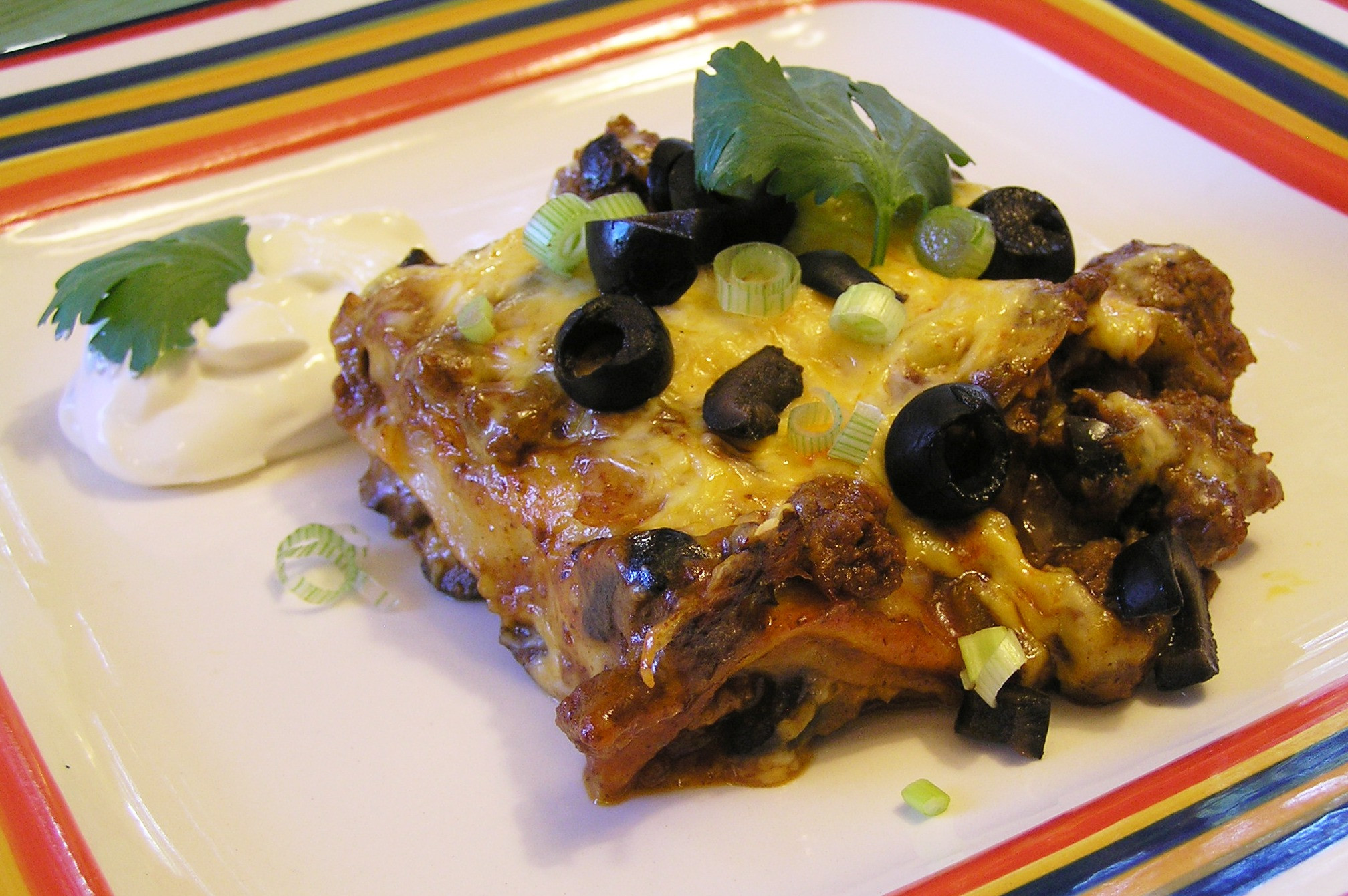 Ground Beef Enchilada Casserole  Quick and Easy Stacked Ground Beef Enchilada Casserole