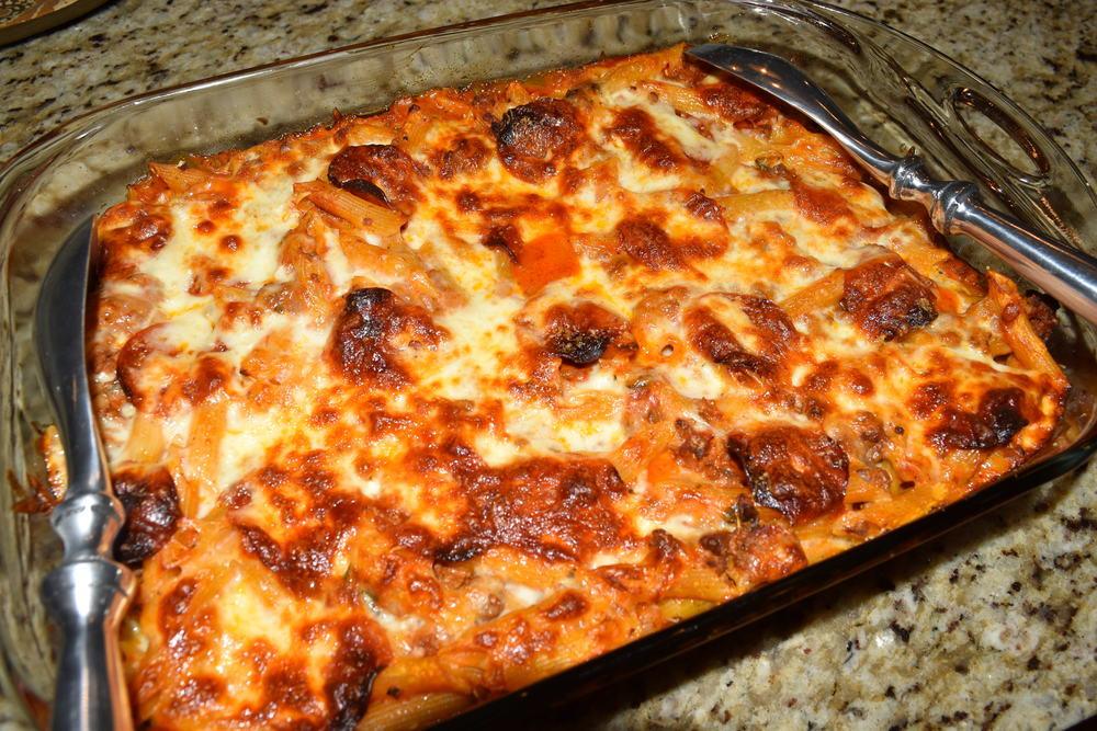 Ground Beef Pasta Casserole  Baked Italian Pasta and Ground Beef Casserole — domestic