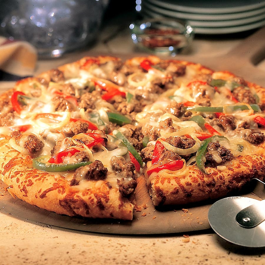 Ground Beef Pizza  Cook Recipe Finder Cheesesteak Pizza