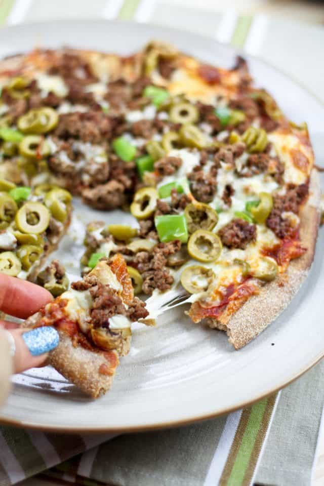 Ground Beef Pizza  Healthy Pizzeria Style Ground Beef and Green Olives Pizza