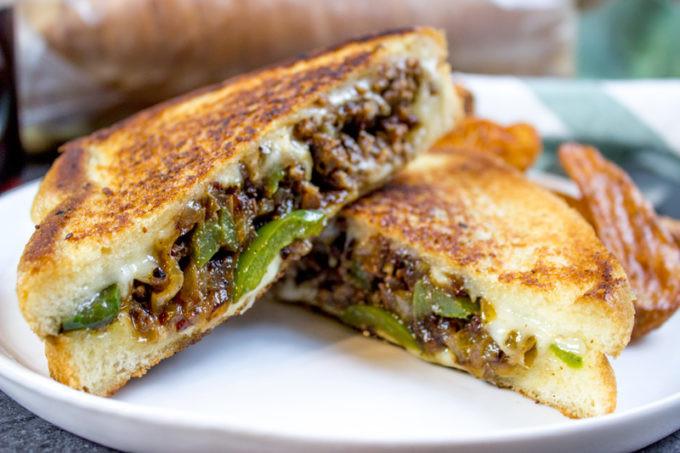 Ground Beef Sandwich  Ground Philly Cheesesteak Grilled Cheese Dinner then