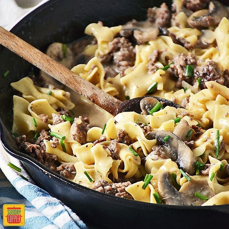 Ground Beef Stroganoff Recipes  Ground Beef Stroganoff Skillet Recipe SundaySupper