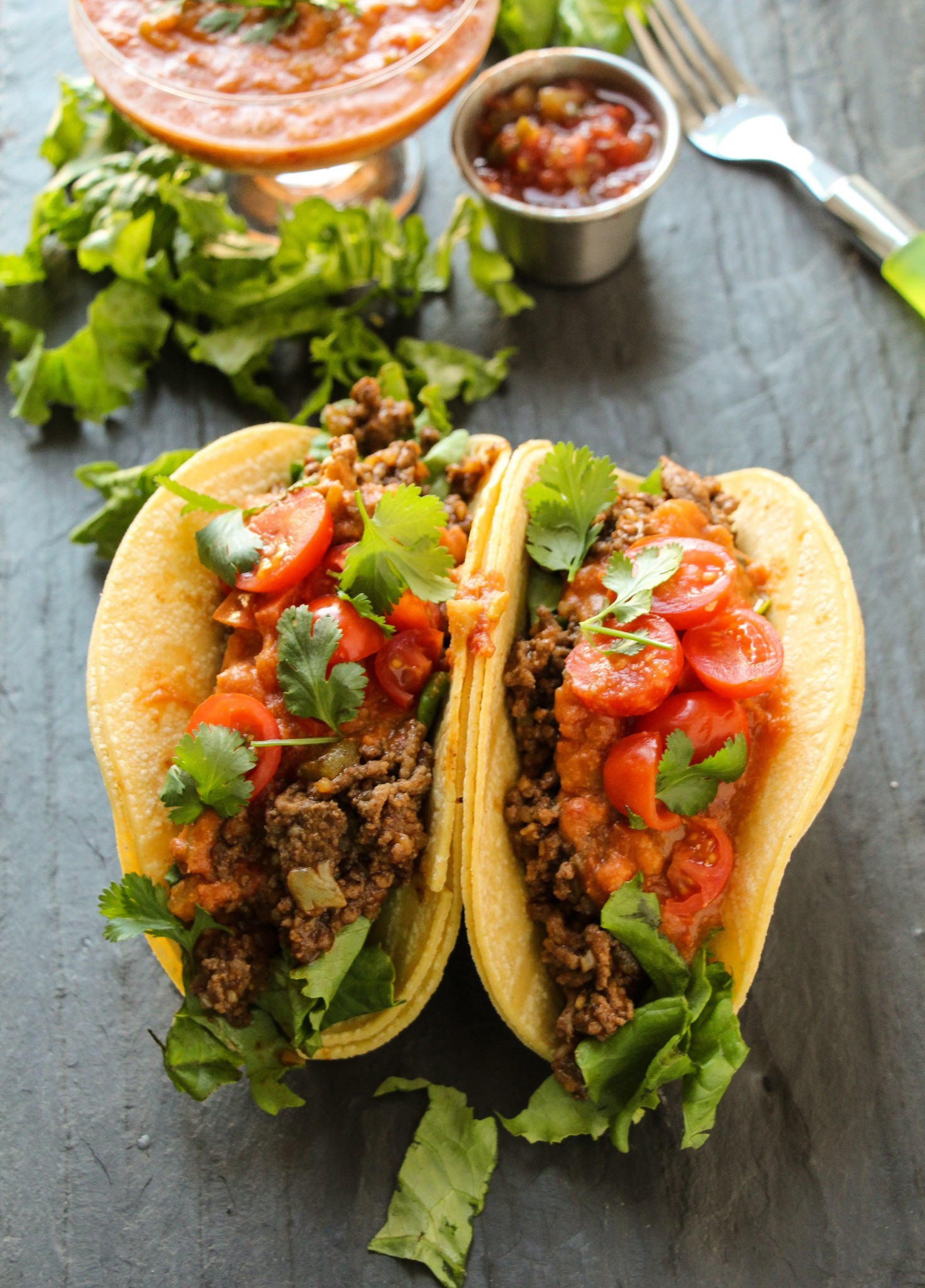 Ground Beef Taco Recipe  Ground Beef Tacos with Loaded Refried Bean Sauce Layers