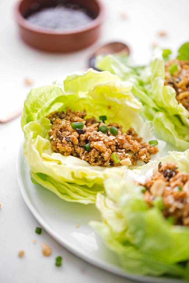 Ground Chicken Lettuce Wraps  easy ground chicken lettuce wraps