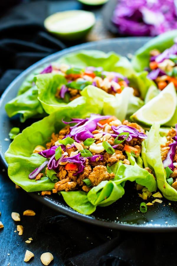 Ground Chicken Lettuce Wraps  Ground Chicken Thai Lettuce Wraps Gluten Free with L B