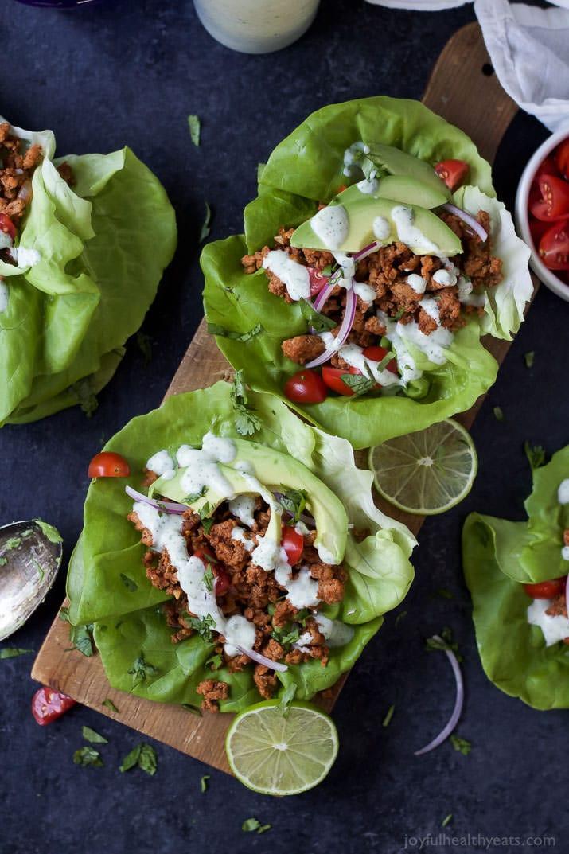 Ground Turkey Lettuce Wraps  Ground Turkey Tacos in Lettuce Wraps with Cilantro Lime Crema