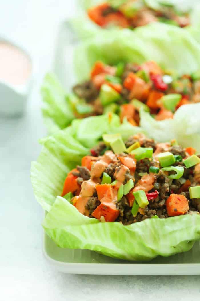Ground Turkey Lettuce Wraps  Ground Turkey Sweet Potato Lettuce Wraps Primavera Kitchen