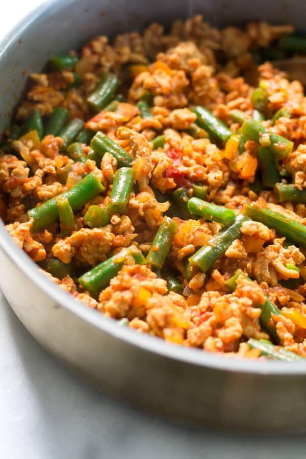 Ground Turkey Meals  Ground Turkey Skillet with Green Beans Primavera Kitchen
