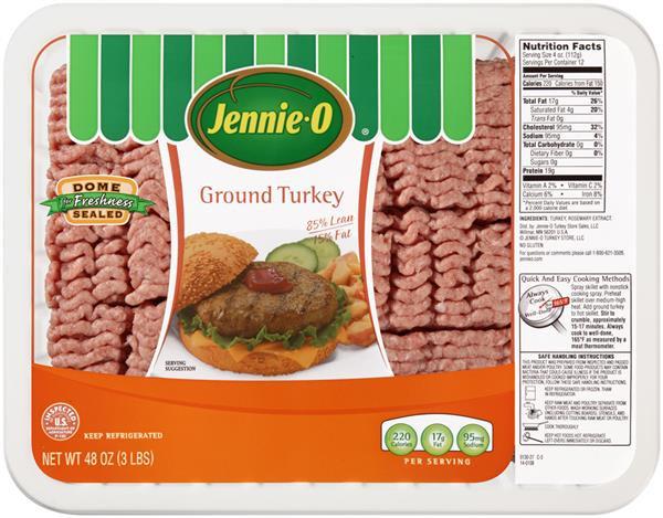 Ground Turkey Nutrition Facts  Jennie O Ground Turkey