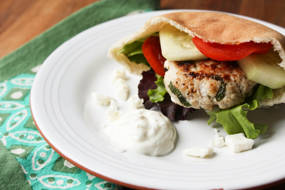 Ground Turkey Patties  Ground Turkey Greek Burger Recipe by Abby Himes