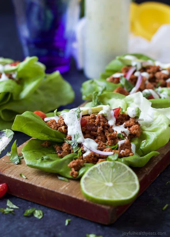 Ground Turkey Taco Recipe  Ground Turkey Tacos in Lettuce Wraps with Cilantro Lime Crema