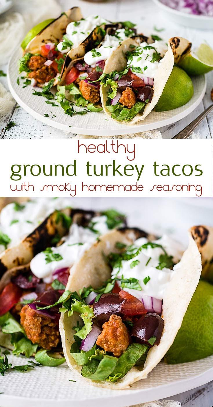 Ground Turkey Taco Recipe  healthy ground turkey taco recipe long pin Mid Life