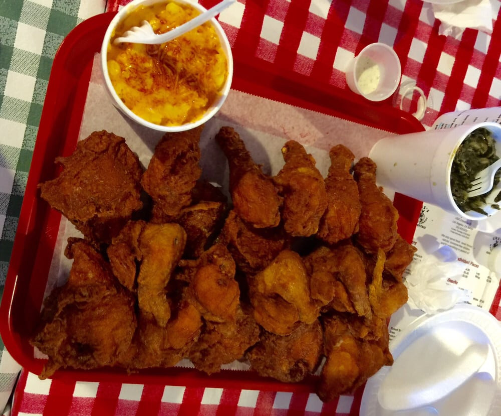 Gus S World Famous Fried Chicken  20 piece with large side of Greens and Mac & Cheese Yelp