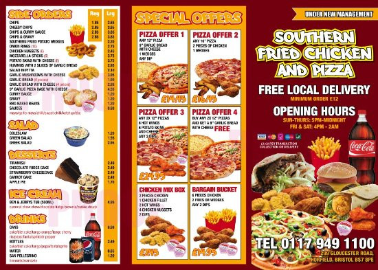 Gus'S Fried Chicken Menu  S F C & PIZZA Picture of Southern Fried Chicken Bristol