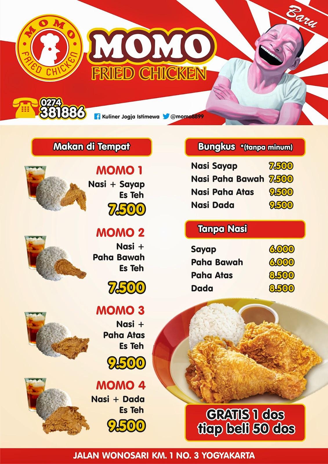 Gus'S Fried Chicken Menu  MOMO RESTO YOGYAKARTA Sekarang ada menu baru MOMO FRIED