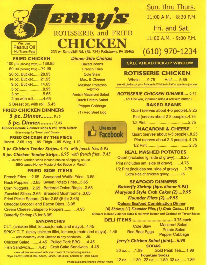 Gus'S Fried Chicken Menu  Jerry s Rotisserie and Fried Chicken Menu Berks Mont Menus